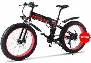GUNAI Electric Bike,26 Inches Folding Fat Tire Snow Bike 12Ah Li-Battery 21 Speed Beach Cruiser