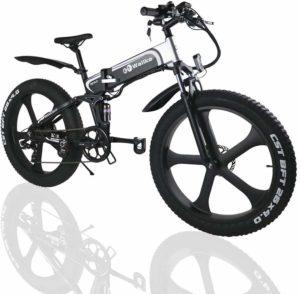 W Wallke Folding Aluminum Electric Bike 48V 10.4ah Removable Battery Fat Tire Snow Mountain Bike 750W Beach Cruiser Adult