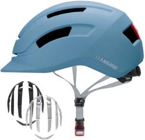 SLANIGIRO Adult Urban Bike Helmet - Adjustable Fit System & Integrated Taillight for Men Women