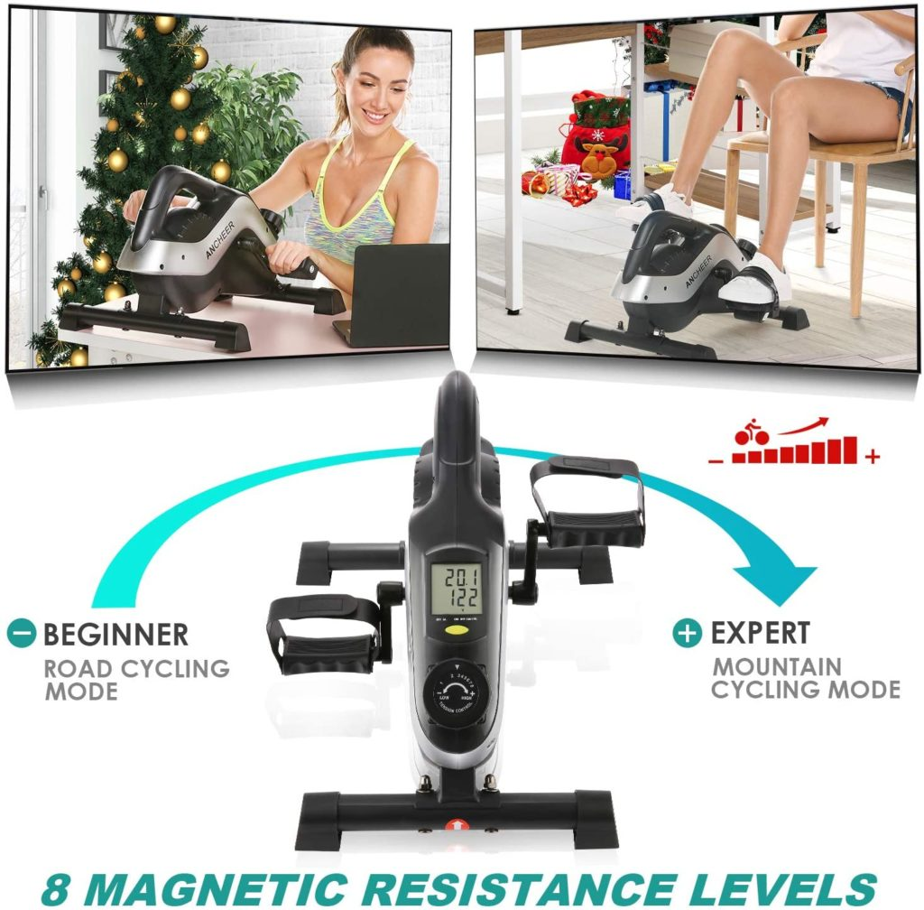 Bike Pedal Pedal Exerciser Display Monitor and Adjustable Resistance Quiet /& Compact Home Office Trainer Fitness Peddler Mini Elliptical Machine with Non-Slip Pedal Under Desk Elliptical Bike