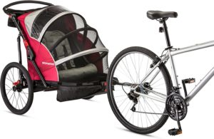 Schwinn Joyrider, Echo, and Trailblazer Child Bike Trailer, Single and Double Baby Carrier, Canopy, 16-20-inch Wheels