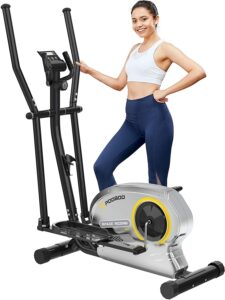 Pooboo Elliptical Trainer Magnetic Elliptical Machines for Home Use Portable Elliptical Trainer with Pulse Rate and LCD Monitor