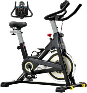 Sovnia Exercise Bike, Stationary Bikes, Fitness Bikes with iPad Holder, LCD Monitor and Comfortable Seat Cushion, Whisper Quiet Indoor Cycling Bikes Perfect for Home Gym Workout (black)