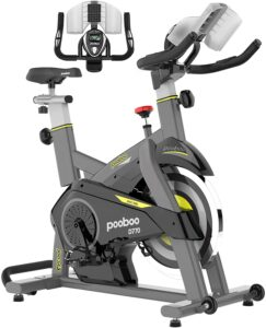 pooboo Indoor Exercise Bike, Magnetic Cycling Bike Belt Drive Indoor Stationary Bike with Tablet Holder and LCD Monitor for Home Workout