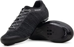 Tommaso Strada Aria Knit Lace Up Dual Compatible Road Bike, Indoor Cycling Shoe and Bundle, SPD, Delta, Black