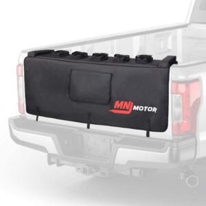 MNJ Motor Tailgate Protection Pad with Bike Fixing Straps for Trunk Tailgate Pad with 2 Tool Pockets for 5 Bikes