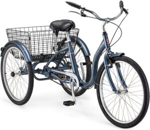 Schwinn Meridian Adult Tricycle, 24 or 26-Inch Wheel Options, Low Step-Through Aluminum Frame, Cargo Basket, Multiple Colors
