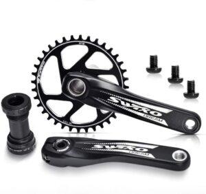 VUNDO Crankset Mountain Bike Crank Arm Set Single Speed 170mm Crankset with Bottom Bracket Kit for MTB BMX Road Bicycle Compatible with Shimano